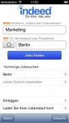 Screenshot der iPhone-App: Indeed App aus dem iTunes App Store (iOS).