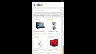 Screenshot der Windows Phone-App: eBay mobile App aus dem Microsoft Store.